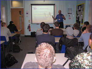 Sporting Chance USA carrying out a US College Scholarship presentation at the Cardinal Newman College, Preston, Lancs