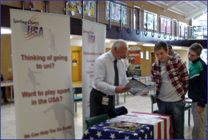Sporting Chance USA attending a Careers Fair at Warwickshire College, Henley in Arden